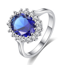 FC173 Wholesale fashion dazzling sapphire CZ silver ring size 6 7 8 9 high quality women jewelry o ring kit