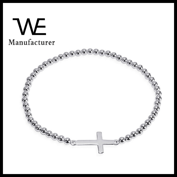 Faithful Christian Cross Thailand Quality Elastic Chain Beads Bracelet
