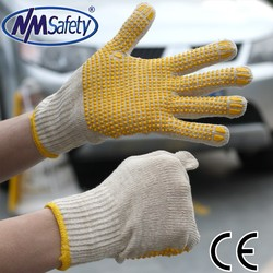 NMSAFETY 10 gauge cotton knitted gardening gloves pvc dotted working gloves factory