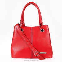 Quick delivery soft red leather women handbags with shoulder straps