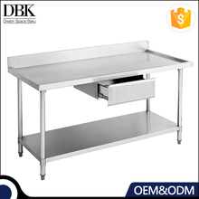 Hotel stainless steel Work Bench/Work table With Drawer & Splash Back-With Under Shelf