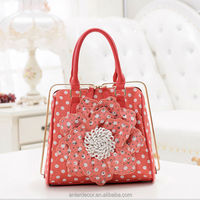 quilted flower bag canvas flower with beads ladies handbags