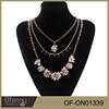 2016 fashion jewelry Multi layer crystal flower fancy long chain diffuser necklace , tassel necklace , gold plated jewelry