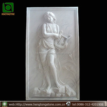 Modern White Marble Woman Relief Wall Sculpture