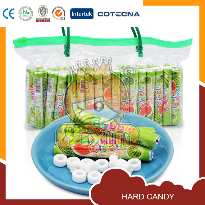 Watermelon flavor circle whistle press candy