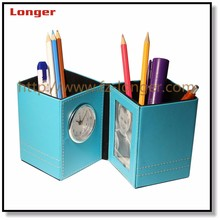 promotion leather pen holder with clock and logo printing
