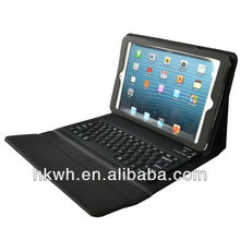 Top quality bluetooth Keyboard PU case for mini ipad