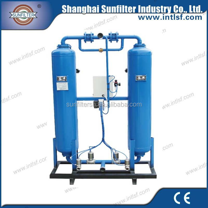 Heatless adsorption or regeneration desiccant air dryers and filters