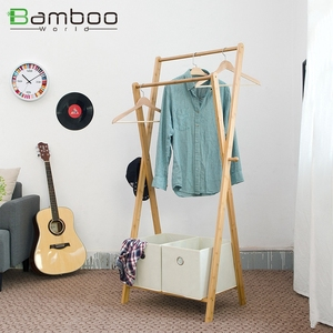 Child Movable Bamboo Corner Hat Towel Shelf Organizer Modern Clothes Rack Stand