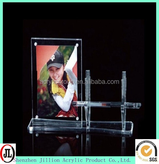 Customize plexiglass photo paper frame with pen rack