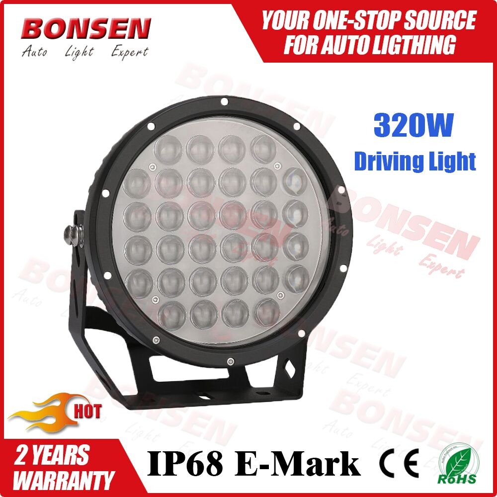 Factory direct Automobile round 320w round led driving light Auto led working light spot beam/flood beam IP67
