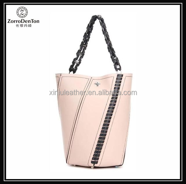 newest design female bucket shape leather tote bag with shoulder chain