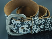 new arravials fancy cow hide split belt with fashion priting