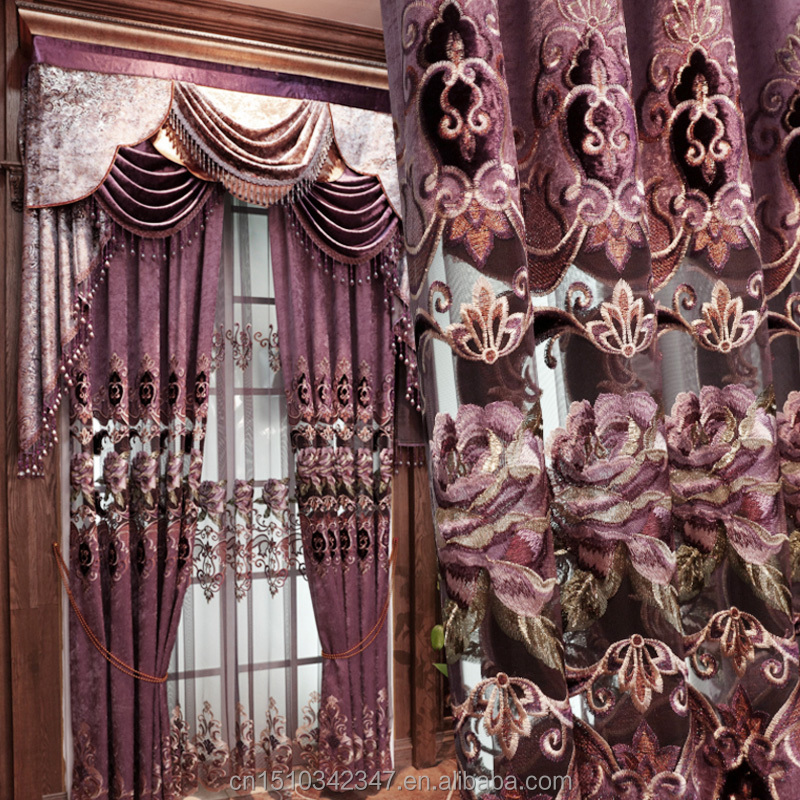 Korean style <strong>hole</strong> curtains purple hollow flowers decorative curtains