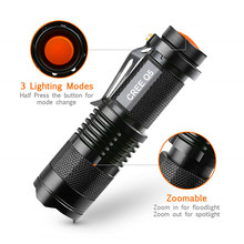 Amazon China Source supplier Waterproof Q5 mini Torch stretch Dimming zoomable mini led flashlight