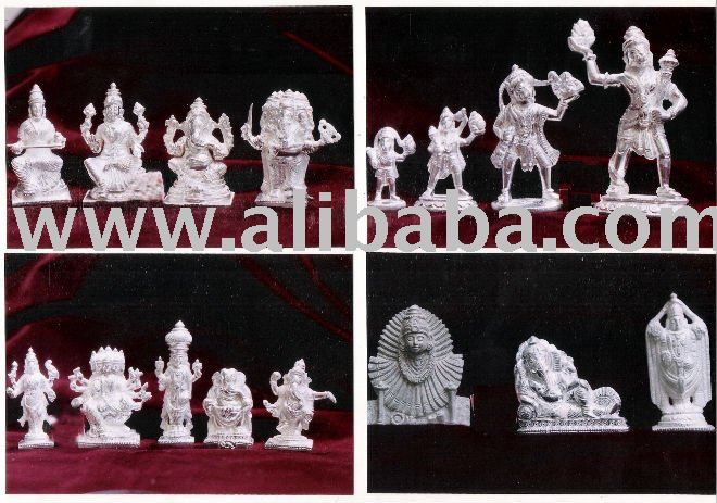 hindu gods for pooja made of sterling silver solid ones