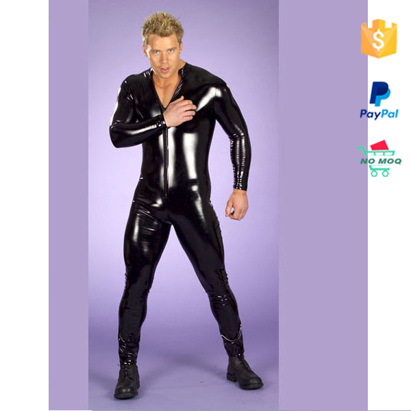 Hot Sexy Black Wet Look Leather Catsuit For Men