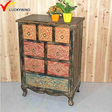 used look hand painted antique solid fir shallow chest of drawers