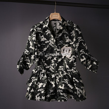 Europe and USA high -grade fashion dress,women's fashion the small sweet camouflage long sleeved coat