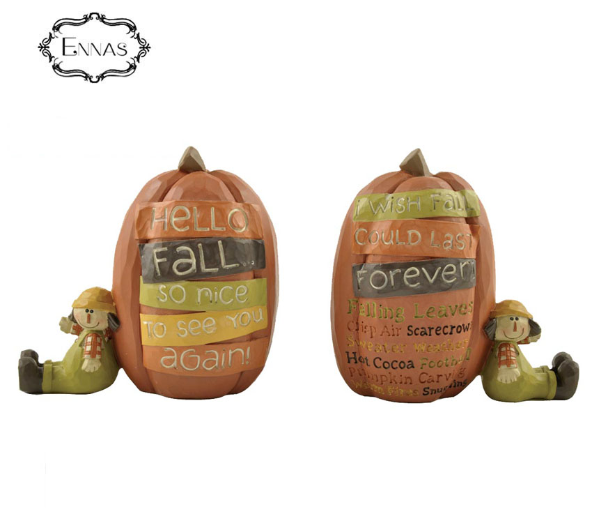 China Suppliers New Halloween artificial yellow pumpkin creative party decorative resin crafts