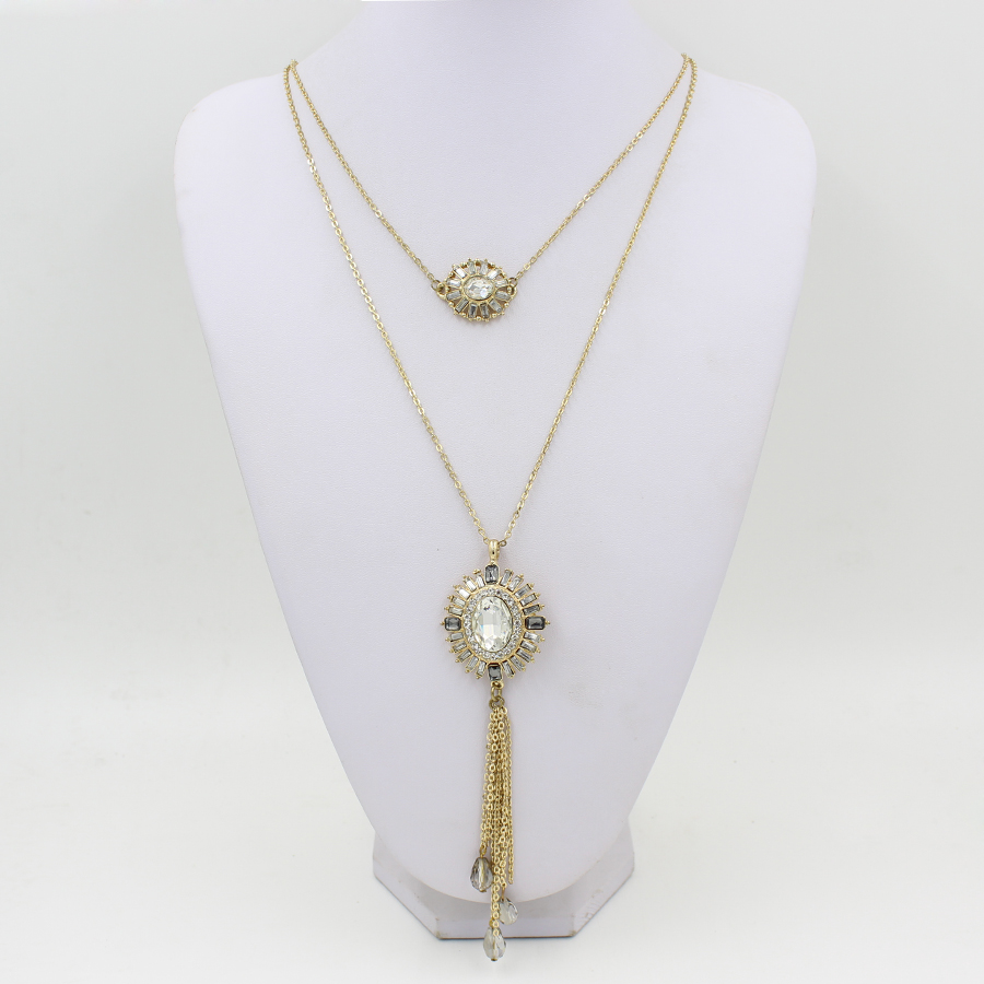 2 Layer Gold Tone Crystal Pendant Long Tassel Necklace
