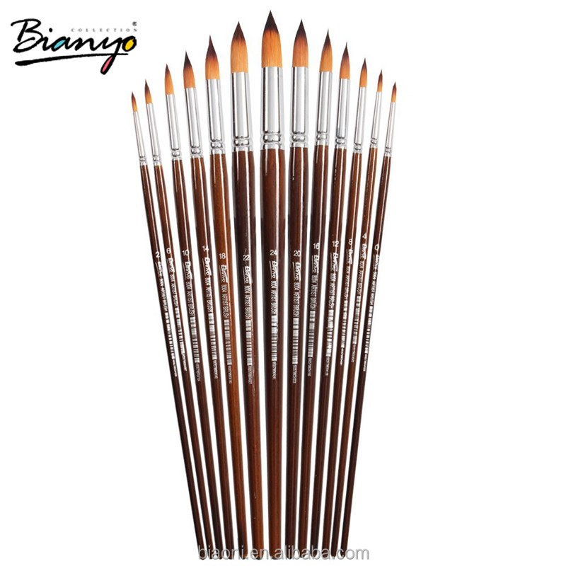 13 Pcs Long Handle Round Shape Artist Acrylic Painting Brushes Set For School Watercolor Oil Painting Stationery Supplies