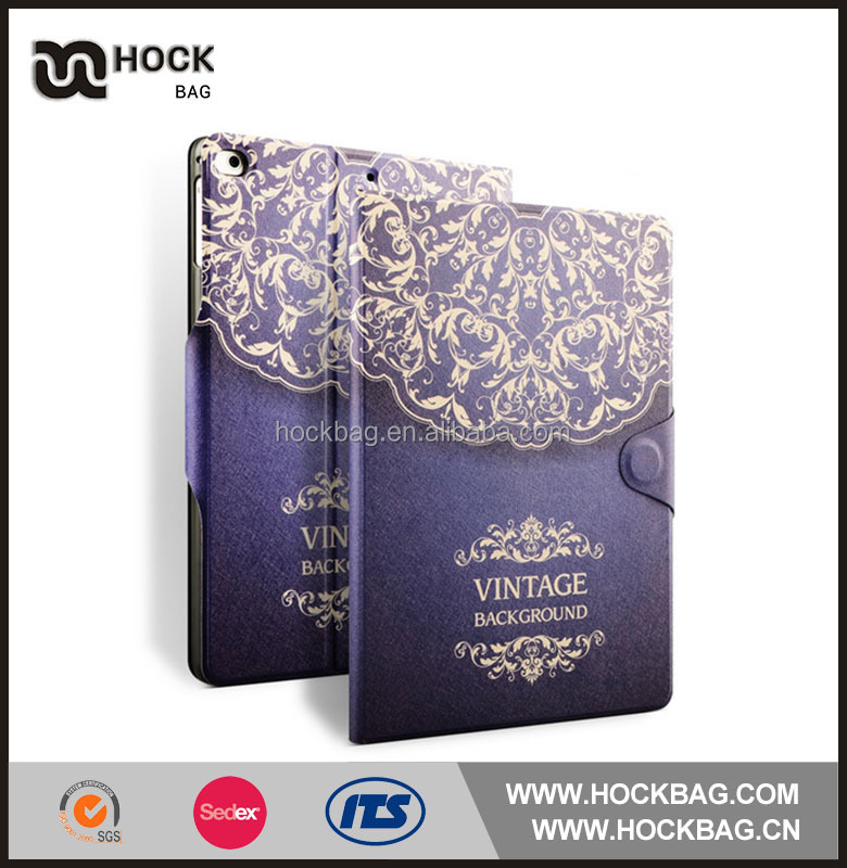 Embossed Flower For Ipad Pro 9.7 PU Leather Flip Stand Case Cover With Card Holder