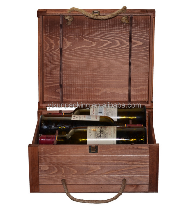 wooden wine box for 3 bottles for sale