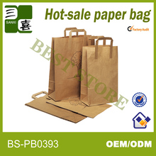 Flat handle paper grocery bags
