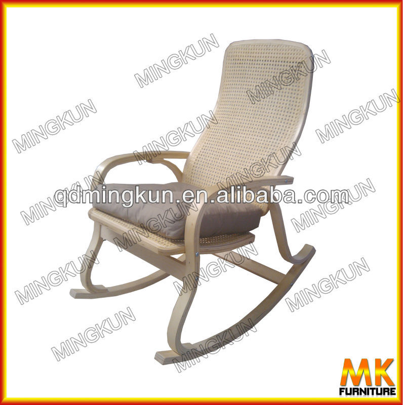 bentwood rattan rocking chair with cushion