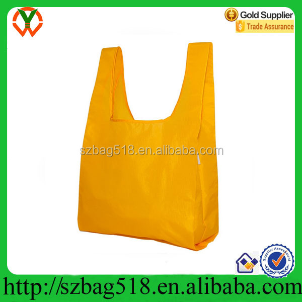 100% Ripstop Nylon Yellow Reusable Shopping Tote Bag