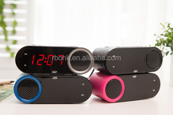 Small digital table clock with red led display