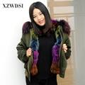 CX-G-P-19M newest real fox fur parka for women brand military winter parka Fur Lined Parka