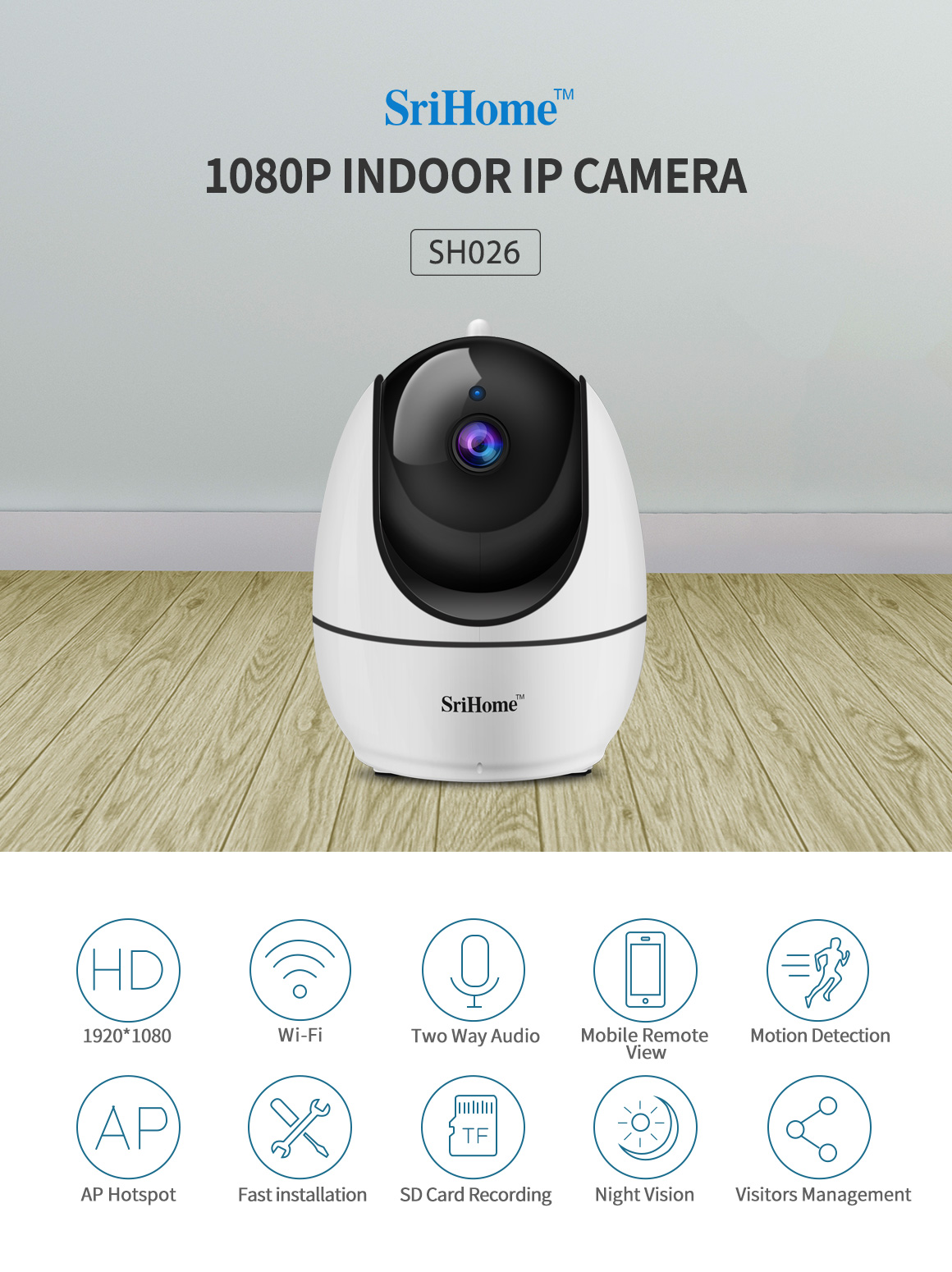 SriHome 1080P H.265 Camera WiFi Camera FHD Indoor Wireless Surveillance Security IP Camera with Motion Detection Night Vision