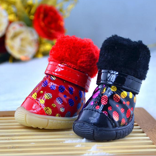 Wholesale Winter Dogs Colorful Non Slip Shoes Warm Waterproof Pets Snow PU Boots