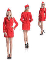 Wholesale Adult Virgin Style Air Hostess Cabin Crew Fancy Dress Costume Ladies Womens