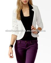 CHEFON Ladies contrast lapel cutaway ladies blazer designs CFB0006