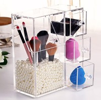 ULA003 Clear Acrylic Makeup Brush Organizer With 3 Storage Drawer Wholes Plexiglass Brush With Plastic Pearls
