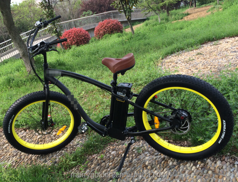 American warehouse fat tyre electric bike for discount black frame and yellow rims