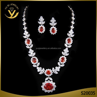 Hot design sexy red stone jewellery sets for bridal ruby necklace sets
