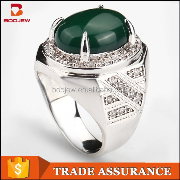 Newest stone ring designs for men green agate men emerald silver ring
