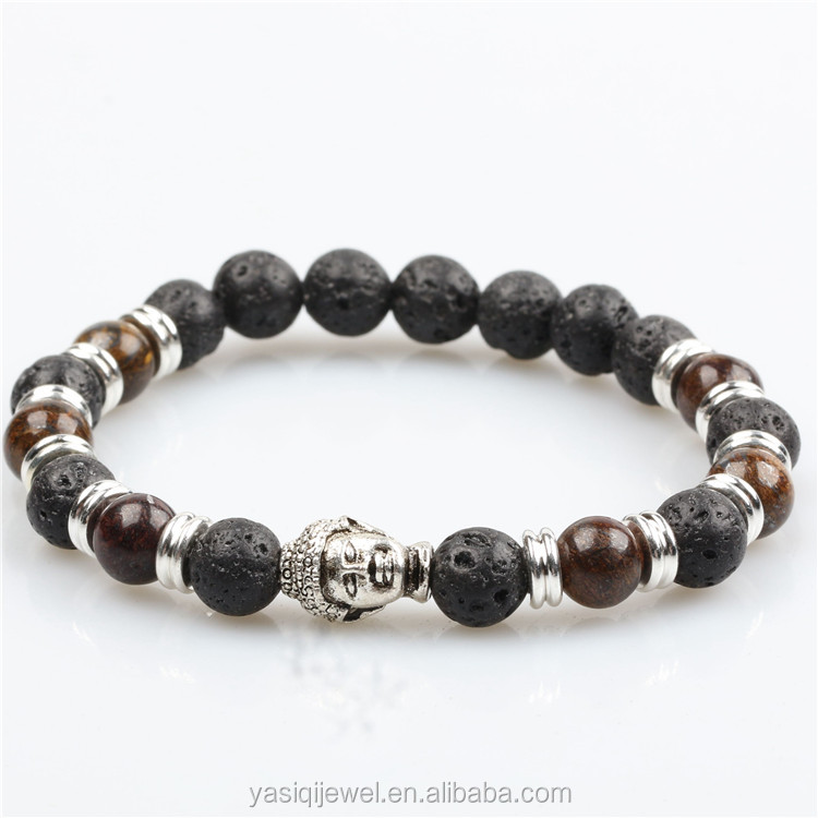 Men bracelet buddha bracelets lava natural beads bracelets in silver jewelry 2017
