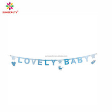 Baby shower DIY design bunting banner paper with letter flag