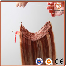 100% Human hair fish line remy hair micro beads weft hair extensions