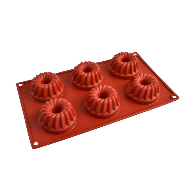 Baked goods 6 link crown brick-red silicone soap mold wholesale