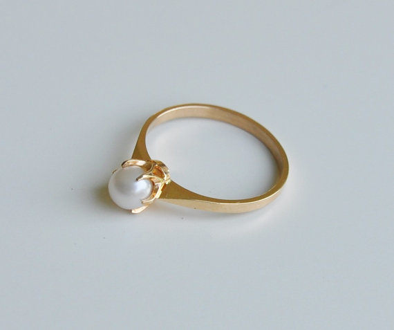 Finnish Modernist 18K Gold Ring with Pearl, Fashion Pearl Ring Designs