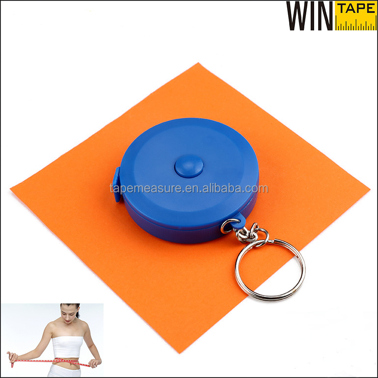 Promotional Gift Under 1 Dollar Blue Round Body Freeman Measuring Tape With Keychain