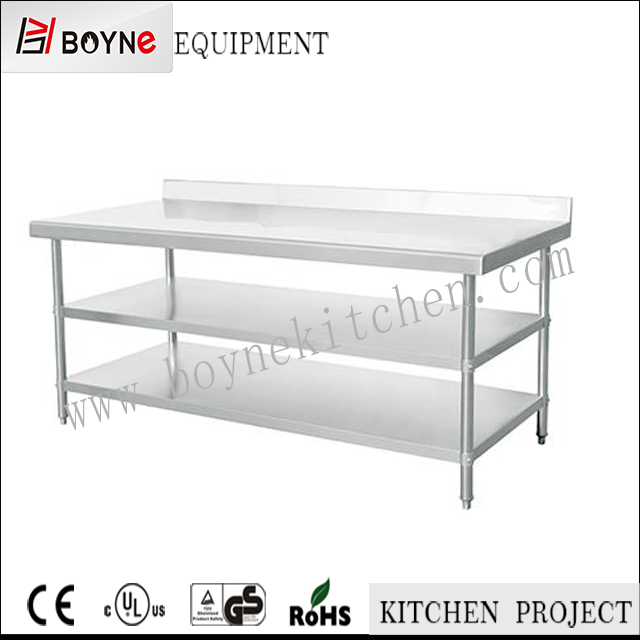 Three layer detechable prep stainless steel work table for commercial kitchen or restaurant