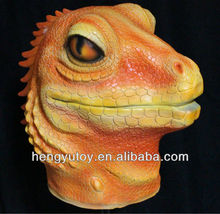 Eco-friendly vivid Rubber Latex lizard Mask full head Deluxe Animal Party Mask -2013