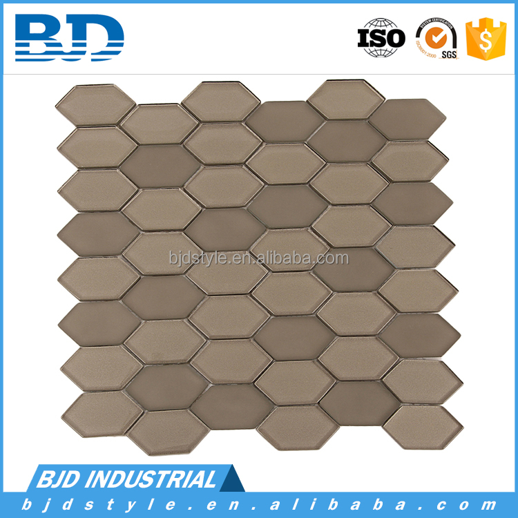 Gray Color Beveled Long Hexagon Crystal Glass Mosaic Tiles